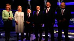 Presidential candidates Peter Casey, Gavin Duffy, Joan Freeman, Seán Gallagher, President Michael D Higgins and Liadh Ní Riada appearing on RTÉ's Prime Time. Photo: Eamonn Farrell/RollingNews.ie