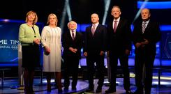 Going live: Candidates for Presidential Election 2018 Joan Freeman, Liadh Ní Riada, Michael D Higgins, Seán Gallagher, Peter Casey and Gavin Duffy. Picture: Caroline Quinn