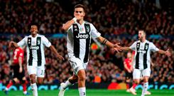 Juventus's Paulo Dybala scored against Manchester United in the Champions League last season. Photo: Martin Rickett/PA Wire