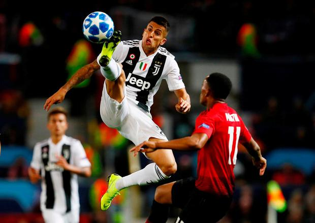 Juventus' Joao Cancelo in action with Manchester United's Anthony Martial. Photo: Jason Cairnduff/Action Images via Reuters