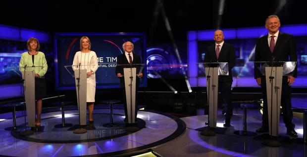 Presidential candidates Gavin Duffy, Joan Freeman, Seán Gallagher, President Michael D Higgins and Liadh Ní Riada appearing in tonight's debate on RTÉ's Prime Time. Photo: Eamonn Farrell/RollingNews.ie