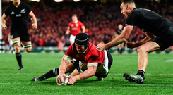 24 June 2017; Sean O'Brien of the British & Irish Lions goes over to score his side's first try during the First Test match between New Zealand All Blacks and the British & Irish Lions at Eden Park in Auckland, New Zealand. Photo by Stephen McCarthy/Sportsfile