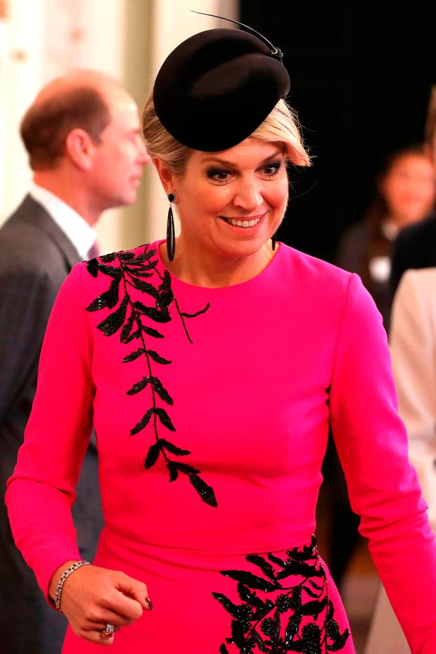 Queen Maxima of the Netherlands reacts as she arrives to view the Ohbot, an educational robotics system, at the UK-Netherlands Innovation Showcase at Mansion House on October 24, 2018 in London, England