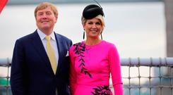 King Willem-Alexander of the Netherlands and Queen Maxima of the Netherlands attend the Dutch ship HNLMS Zeeland, anchored on the Thames next to HMS Belfast, to watch an on-water capability demonstration by Royal Marines and HNLMS Zeelands Marines company during day two of their state visit to the UK on October 24, 2018 in London, United Kingdom Netherlands was by Queen Beatrix and Prince Claus in 1982. (Photo by Christopher Furlong/Getty Images)