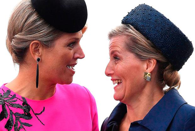 Queen Maxima of the Netherlands (L) and Britain's Sophie, Countess of Wessex in London in 2018