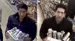 David Schwimmer, right, copies the CCTV still circulated by Blackpool Police (Blackpool Police/@DavidSchwimmer/PA)
