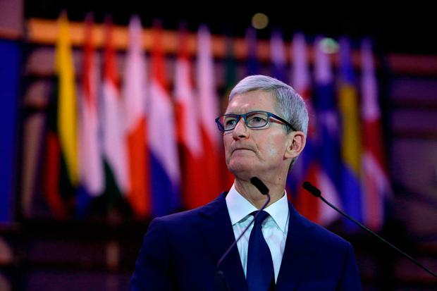Profits: Apple CEO Tim Cook told the Debating Ethics event at the European Parliament in Brussels yesterday that people's personal data is being 'weaponised' by companies to make profit for themselves. Photo: AFP/Getty Images