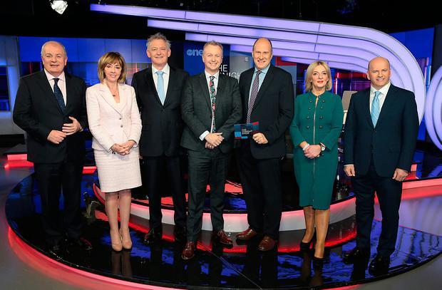 Gavin Duffy, Senator Joan Freeman, Peter Casey, Liadh Ní Riada MEP and Sean Gallagher pictured alongside Matt Cooper and Ivan Yates on The Tonight Show: Presidential Election Special. Picture: Brian McEvoy
