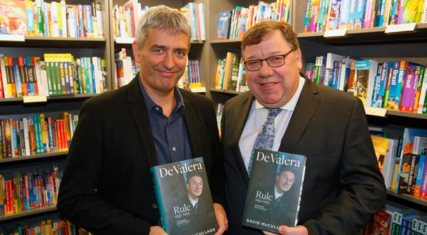 Author David McCullagh and former Taioseach Brian Cowen at the launch at Hodges Figgis bookshop. photo: Mark Condren