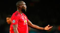 Manchester United's Romelu Lukaku reacts during the Champions League match against Juventus. Photo: Robbie Jay Barratt/Getty Images