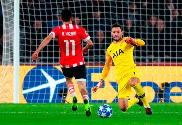 Tottenham's Hugo Lloris was sent off for fouling PSV's Hirving Lozano. Photo: Catherine Ivill/Getty Images