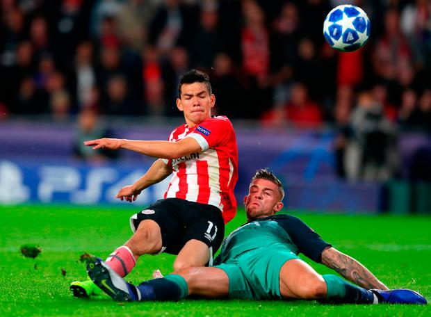 Hirving Lozano put PSV Eindhoven after a slip from Toby Alderweireld. Photo: Catherine Ivill/Getty Images