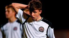 Thomas Consadine of Bohemians looks dejected following the UEFA Youth League, 1st Round, 2nd Leg, match between Bohemians and FC Midtjylland at Dalymount Park in Dublin. Photo by Harry Murphy/Sportsfile