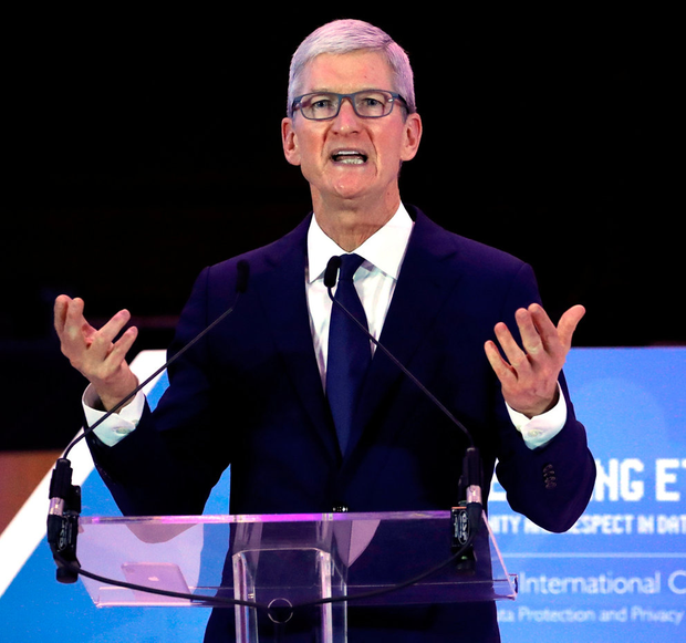 Apple CEO Tim Cook delivers a keynote during the European Union's privacy conference in Brussels. Photo: Yves Herman/Reuters