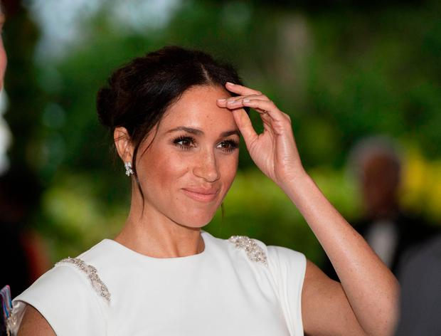 The Duchess of Sussex attending an official welcome at Consular House in Tonga on the first day of their visit to the country. Photo: Paul Edwards/The Sun/PA Wire