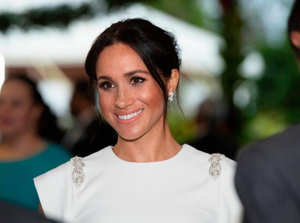 The Duchess of Sussex attending an official welcome at Consular House in Tonga on the first day of their visit to the country