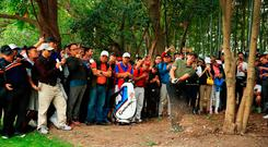 Rory McIlroy plays a shot left handed on the 16th hole