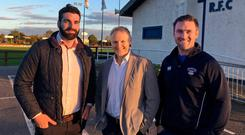 Joe Schmidt with club captain David O'Brien (left) and director of rugby Eugene McGovern (right)