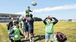 Jack Carty, Darragh Leader, Tiernan O'Halloran and youngsters launch Connacht camps Photo:INPHO/Bryan Keane