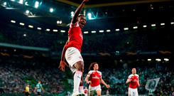 Arsenal's Danny Welbeck celebrates scoring. Photo: Peter Cziborra/Action Images via Reuters