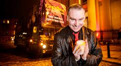 Actor Gary Egan brings passengers on a haunting trip around Dublin on the Ghostbus Tour. Photo: Mark Condren