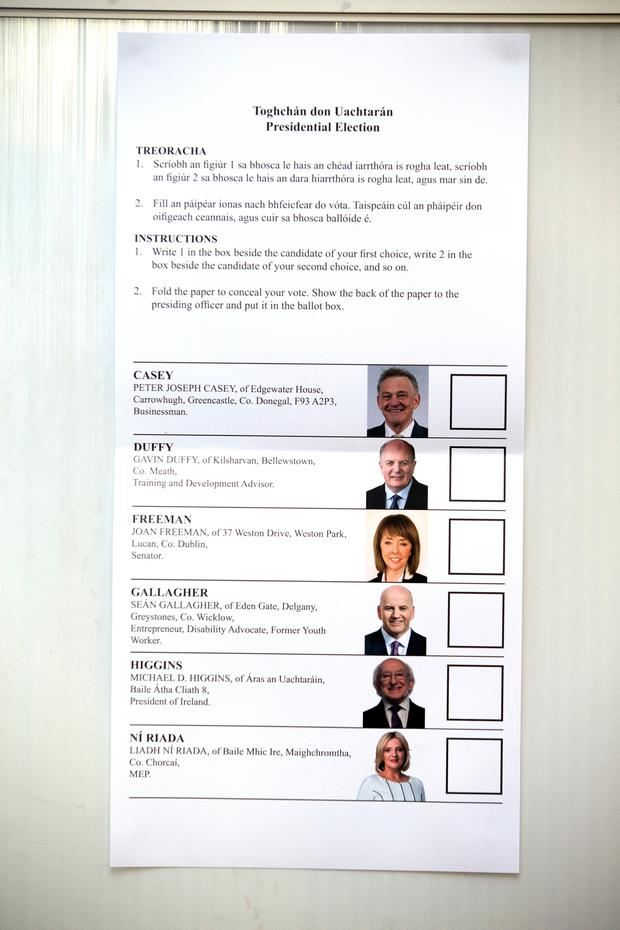 The ballot paper for the Presidential Election at St Mary's Hospital, Phoenix Park this morning. Photo: Tony Gavin