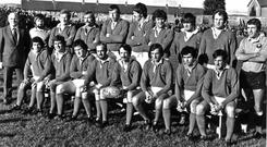 Back, from left: touch-judge John Cole (Munster Branch and Shannon), Gerry McLoughlin, Les White, Moss Keane, Donal Spring, Colm Tucker, Pat Whelan, Brendan Foley, referee Corris Thomas (WRU). Front row, Tony Ward, Christy Cantillon, Moss Finn, Seamus Dennison, Donal Canniffe, Greg Barrett, Jimmy Bowen, Larry Moloney. Photo by Independent News and Media/Getty Images