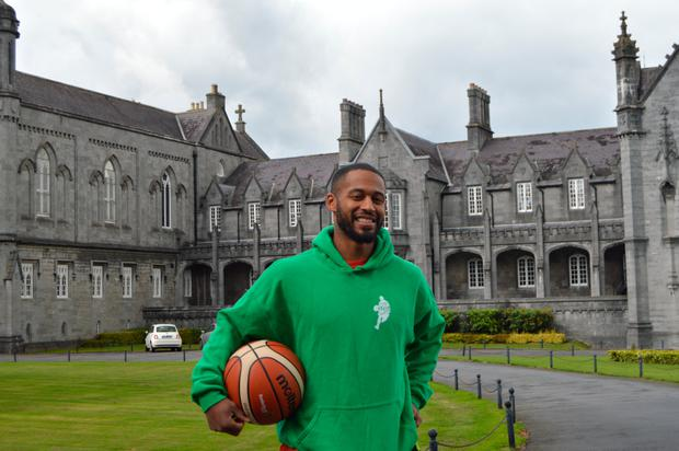 'Puff' Summers outside St Kieran's College, Kilkenny, where he does some coaching – a long way from his days practising with Steph Curry in North Carolina.