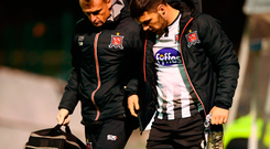Patrick Hoban of Dundalk with physiotherapist Danny Miller