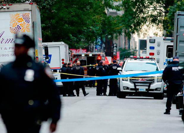 Bomb scare: Police on the scene where a suspicious package was found in New York yesterday. Photo: Getty Images