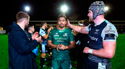 Jarrad Butler of Connacht leads his side off the field
