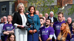 Sinn Féin's Presidential candidate Liadh Ní Riada with party leader Mary-Lou McDonald. Picture: Steve Humphreys