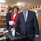 Gavin Duffy and his wife Orlaith Carmody casting their vote at Whitecross National School in Julianstown, Co Meath. Picture: Mark Condren