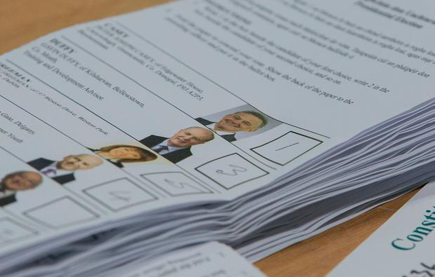 A ballot paper shows a number 1 for presidential candidate Peter Casey. Credit: Mark Condren