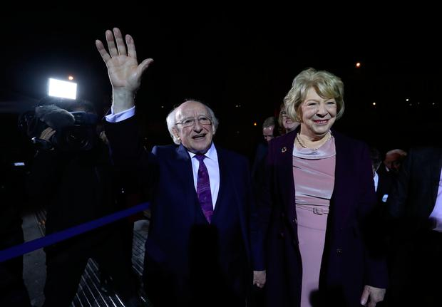 Michael D Higgins and his wife Sabina arrive at Dublin Castle to attend the count in Ireland's presidential election. Niall Carson/PA Wire