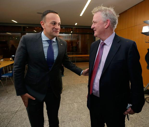 Taoiseach Leo Varadkar speaks with presidential candidate Peter Casey at Dublin Castle. Picture: Damien Eagers