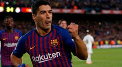 Barcelona's Luis Suarez celebrates after scoring his side's fourth