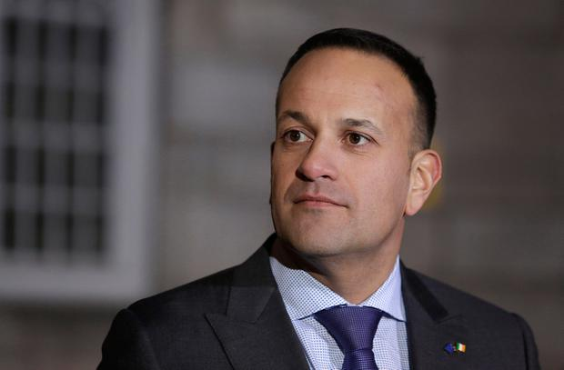Taoiseach, Leo Varadkar speaks to journalist as he arrives at Dublin Castle. Pic credit; Damien Eagers / INM