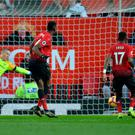 Manchester United's Paul Pogba scores their first goal