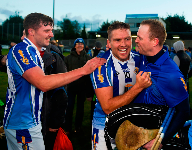 Paul Doherty, left, Conal Keaney, and Gary Maguire, right, of Ballyboden St Enda's celebrate after the Dublin County Senior Club Hurling Championship Final Replay match between Kilmacud Crokes and Ballyboden St Enda's, at Parnell Park, Dublin. Photo: Sportsfile