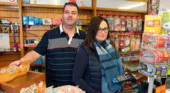 Frustrated: Gerry and Irene Rice say their shop in Sligo can't take cards when the broadband isn't working. Picture: Damien Eagers