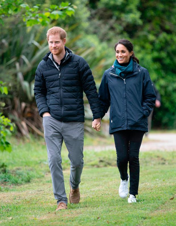 Prince Harry, Duke of Sussex and Meghan, Duchess of Sussex visit Abel Tasman National Park, which sits at the north-Eastern tip of the South Island, to visit some of the conservation initiatives managed by the Department of Conservation on October 29, 2018 in Wellington, New Zealand