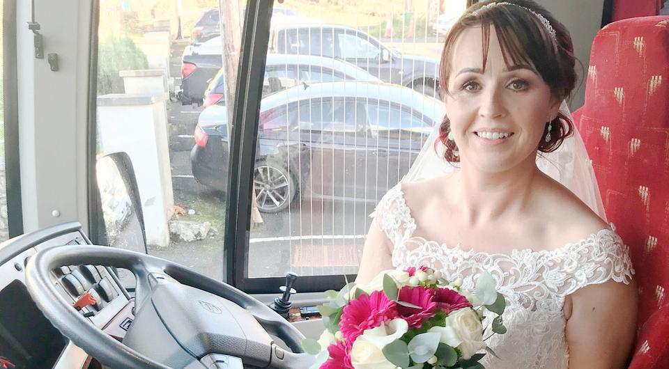 Sharon Gallagher who drove herself ot her wedding in a McGinley's coach.