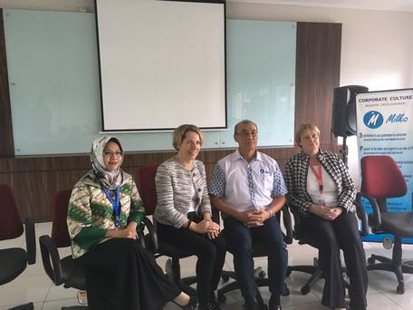 Bord Bia CEO Tara McCarthy, members of the Milkco managing team and Paula Barry Walsh of the Department of Agriculture at the Milkco plant in Indonesia.