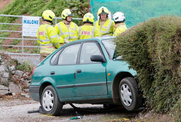 The car in which an elderly man was seriously injured in a single-vehicle crash outside Ennis, Co Clare, on Monday. Photo: Press 22