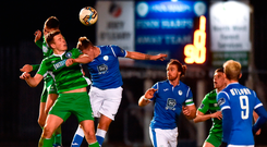 Danny Morrissey and Killian Brouder of Limerick in action against Keith Cowan of Finn Harps. Photo by Oliver McVeigh/Sportsfile