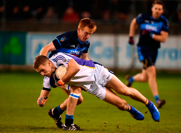 Paul Mannion of Kilmacud Crokes in action against Niall O'Shea of St Jude's. Photo by Daire Brennan/Sportsfile