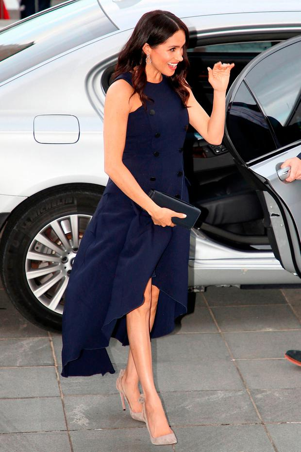 Meghan, Britain's Duchess of Sussex arrives for a reception hosted by New Zealand's Prime Minister Jacinda Ardern at the Auckland War Memorial Museum in Auckland on October 30, 2018