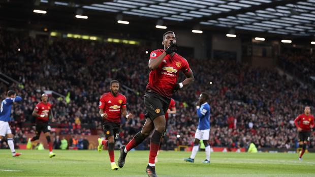 Manchester United's Paul Pogba celebrates after rescuing his penalty (Martin Rickett/PA)