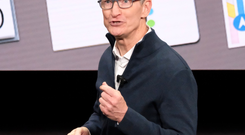 Photo: Apple CEO Tim Cook on stage today in New York at the launch of the MacBook Air. Pic: Adrian Weckler